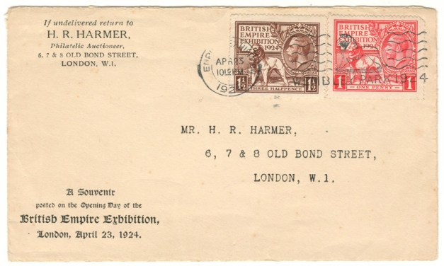 G.B. #185-186 23 Apr 1924 British Empire Exhibition Harmer's First Day Cover & letter
