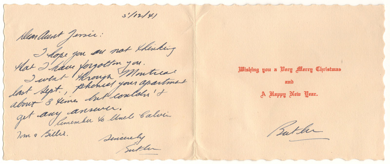 inside of the card, handwritten