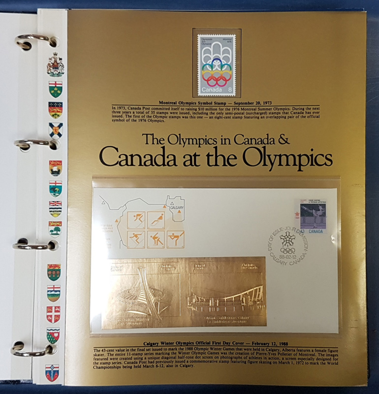 Canada at the Olympics page open with gold FDC