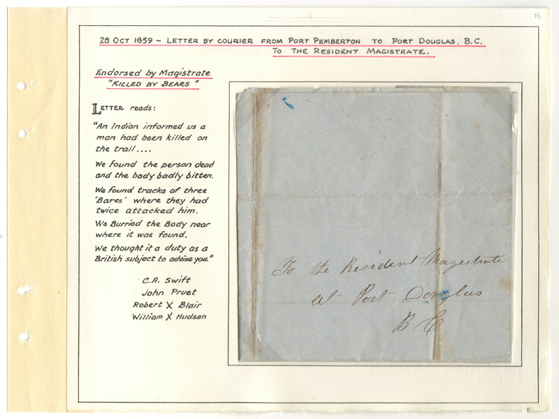 Page 18, 28 Oct 1859 Killed by Bears letter from Port Pemberton to Fort Douglas