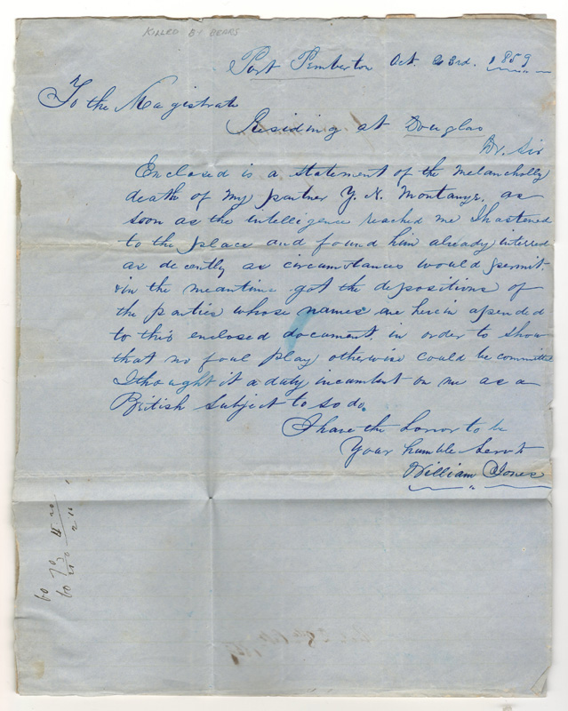 Handwritten letter 1859
