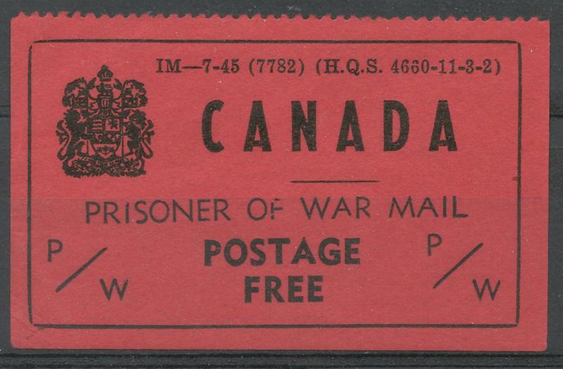Canada Prisoner of War Mail / Postage Free