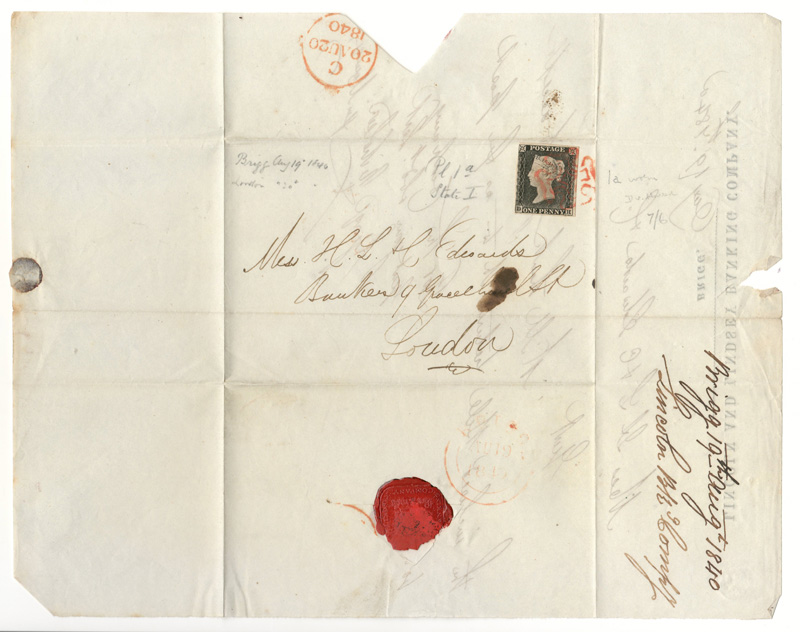unfolded FLS with address and penny black stamp