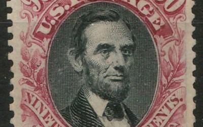 U.S.A. #132 Mint 1875 90c Lincoln reperfed