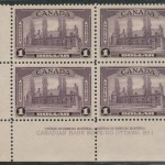Canada #245i VFNH LL 1938 $1 Aniline Ink Plate One Block