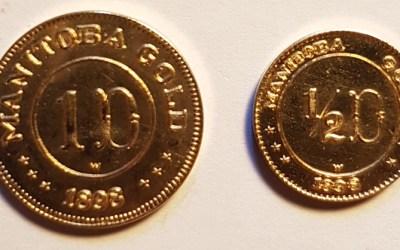 Manitoba Gold Unc 1898 dated 50c $ $1 Fantasy coin duo .156oz AGW