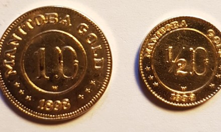 Manitoba Gold Unc 1898 dated 50c $ $1 Fantasy coin duo .156oz AGW