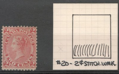 Canada #20ii Fine Unused 2c Stitch Watermark
