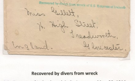 1914 Cover Recovered by Divers from Wreck of S.S. Empress of Ireland