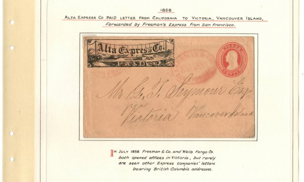 Page 25, Alta & Freeman & Co. 1858 SFR dual Express Cover to Victoria, V.I. in Fraser River Gold Rush collection