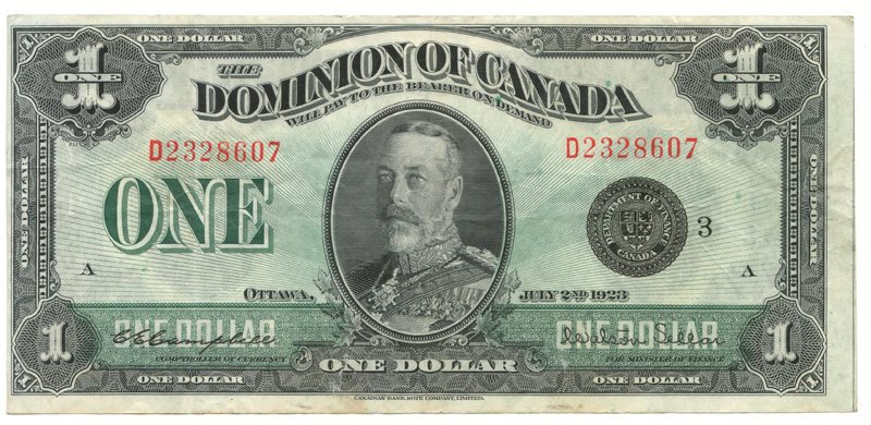 Dominion of Canada #DC-26j VG+ 1923 George V Horseblanket $1
