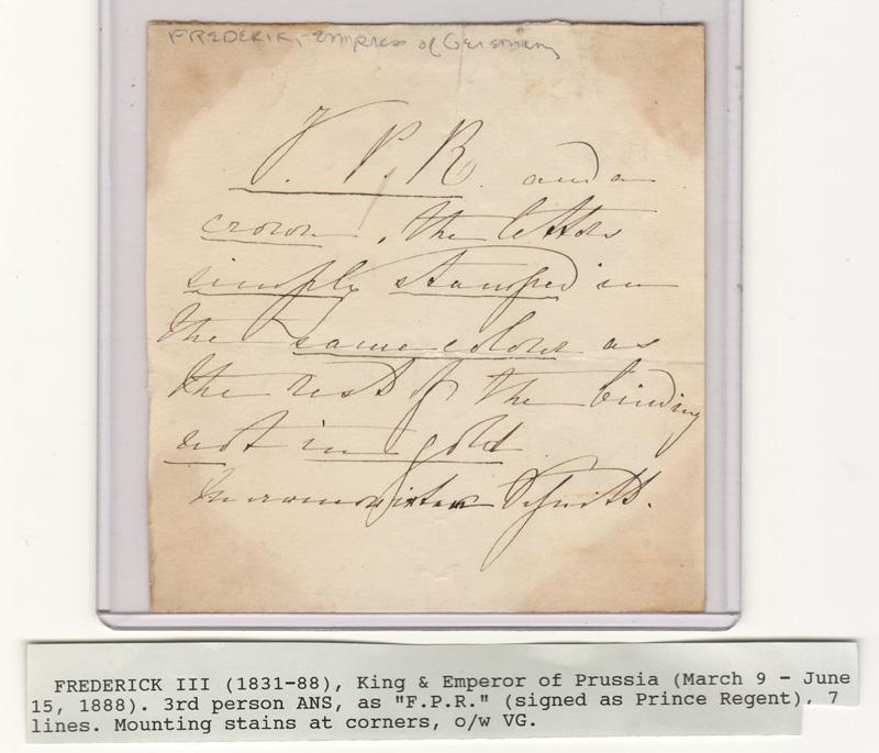 signed handwritten note, with typewritten footer description