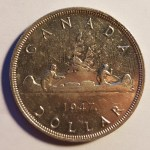 Canada Unc 1947 Maple Leaf Silver Dollar, cleaned