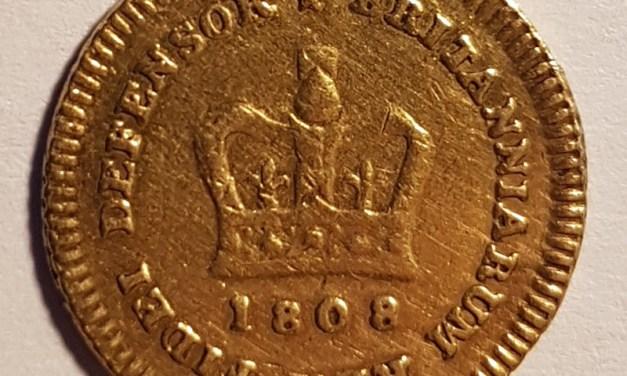 G.B. Fine 1808 George III 1/3 Gold Guinea