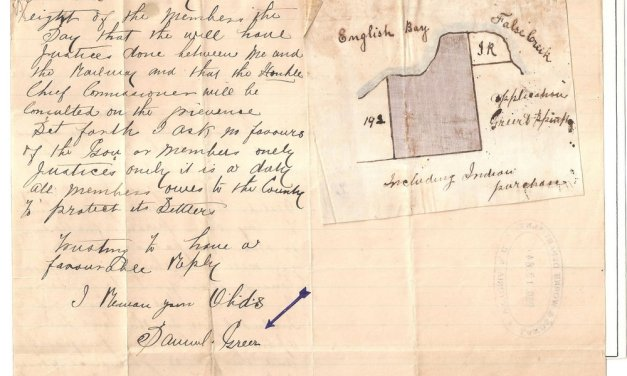 Page 76, December 1884 Sam Greer Kits Beach Land Claim Letter & Map