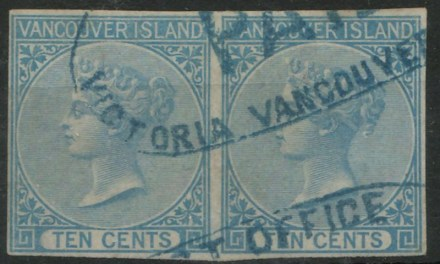 80	B.C. #4 VF Used 1865 10c Blue Imperf Pair, 2004 C.P.E.S. Cert. $3000