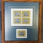 British Columbia framed Mint 1947 50c Duck Block & single incl error