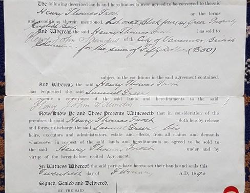 Henry Thomas Frost, Samuel Greer, Lot 1 Conveyance Document 20 Feb 1890