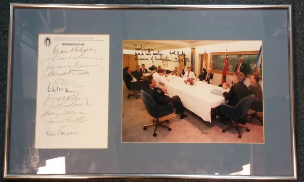 Meech Lake Accord 3 June 1990 framed 11 leaders-signed photo