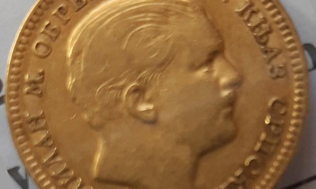 Serbia VF 1879A Price Milan I Gold 20 Dinara .18670z AGW