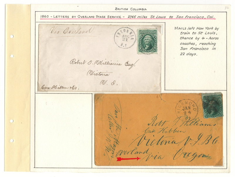Page 34, 1860 10c Washington cover duo to Victoria, V.I., Gerald E. Wellburn Fraser River Gold Rush Collection