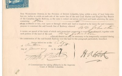 Harry Abbott signed 1887 C.P.R. completion Supreme Court document