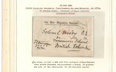 Page 37, Colonel Moody 1863 Field Marshall Burgoyne Free-Franked War Office O.H.M.S. Cover, Fraser River Gold Rush