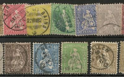 Switzerland #41/59 Used 1862/1876 odd short perf US$745. (13)