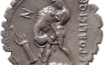 C. Poblicius Q.f. 80 BC Hercules strangles Nemean Lion, Silver Serrate Denarius