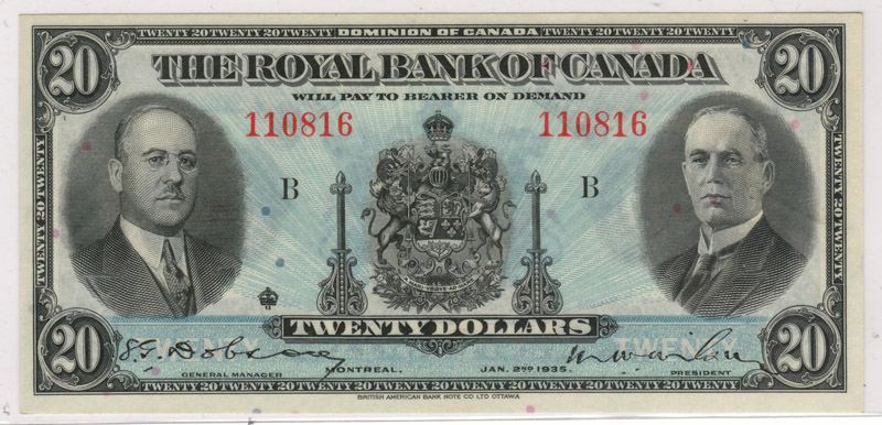 Royal Bank of Canada AU 1935 Large Signatures $20 Banknote