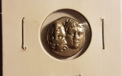 Thrace, Istros 4th Century B.C. Twins / Sea Eagle on Dolphin, Silver Drachm
