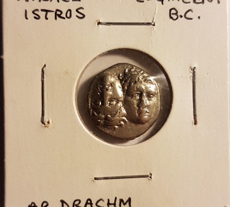 Thrace, Istros 4th Century B.C. Twins / Sea Eagle on Dolphin, Silver Drachm