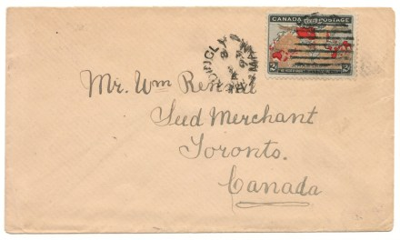 Canada #86var 8 Apr 1899 2c colour changeling Rennie Map Cover