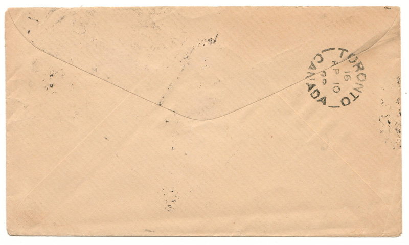 Back of cover with toronto cancel