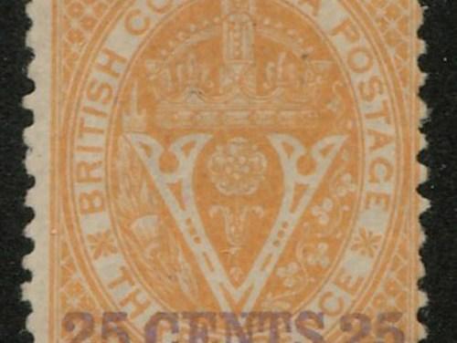 B.C. #16 Fine Mint HR O.G. 1869 25c on 3d Orange