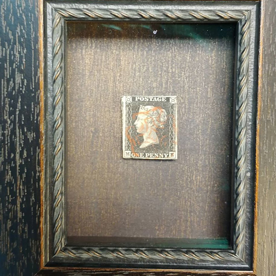 Penny Black, framed