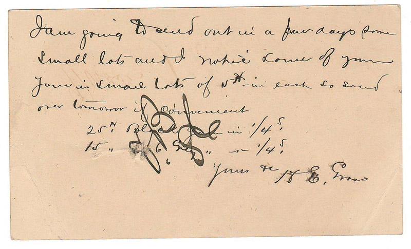 handwritten back of card