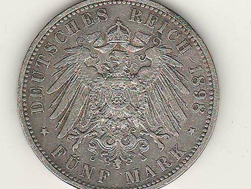 Prussia XF 1898A Wilhelm II Silver 5 Mark US$160. .8037oz ASW