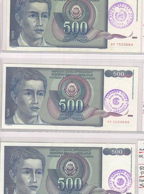 Bosnia & Herzegovina #P1a-c XF 1992 500 Dinara trio