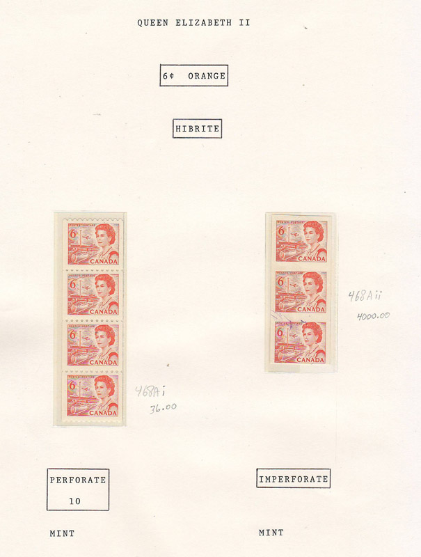 6 cent orange stamps on page