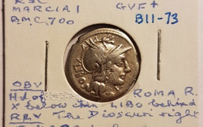 Marcia I 148 BC Q Marcius Libo Silver Denarius w/ Roma