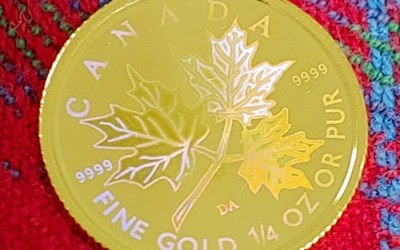 Canada BU 2001 pure Gold 1/4oz Hologram Maple $10