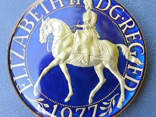 G.B. enamelled 1977 QEII Jubilee Crown
