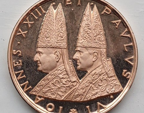 Popes John XXII & Paul VI 5gm Vatican II Gold Medallion