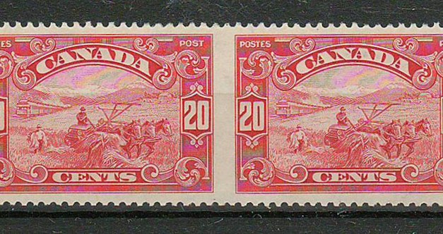 Canada #157b 1929 20c Perf by Imperf Horizontal Pair
