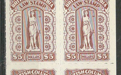 British Columbia #BCL61 1971/80 $5 unlisted Plate Block (4)