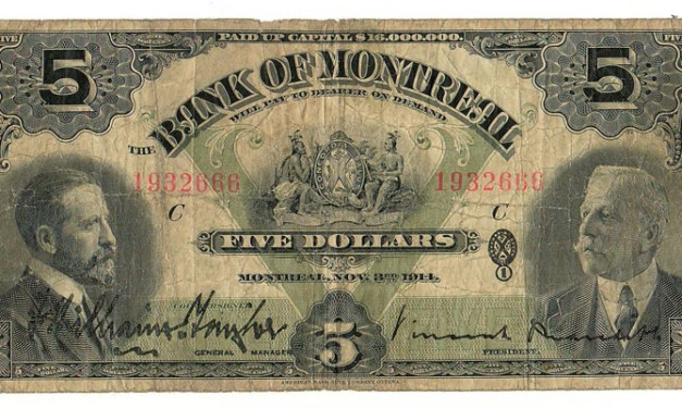 Bank of Montreal 1914 $5 Bill $115