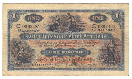 Clydesdale Bank P#189d Fine 1 May 1946 Pound Banknote