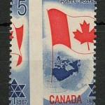 Canada #453var 1967 5c Flag Dramatic Misperf