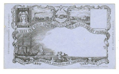 Ocean Penny Postage Unu J. Valentine, Dundee illustrated 1849 Cover